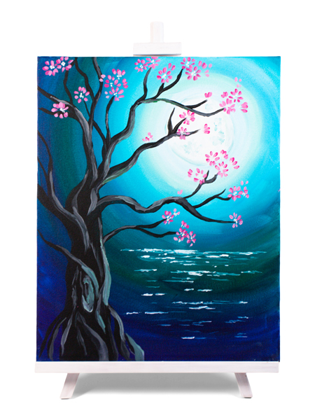 Moonlit Blossoms - painting by Cork & Chroma